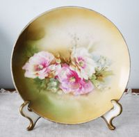 Painted pink roses plate